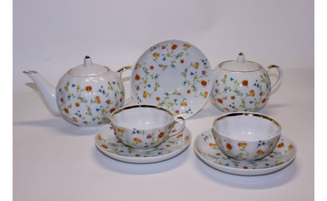 """Чайный сервиз """"Полевые цветы"""", 14 предметов"""